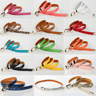 2014 New Womens Candy Color Cross Buckle Waistband Thin Skinny PU Leather Belt