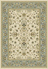 Traditional Ivory Oriental Vines Blue Border Area Rug Floral Persian Carpet