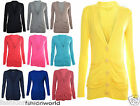 Womens New Ladies Long Sleeves Plain Button Up Boyfriend Cardigans Top Size 8-14