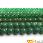 Smooth Round Green Aventurine Jade Jewelry Making Gemstone Beads Strand 15""