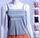 WOMENS LADIES 100% SILK KNITTED CAMI TANK TOP SLEEVELESS STRAPPY VEST CAMISOLE
