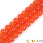 Smooth Round Orange Jade Jewelry Making Loose Gemstone beads strand 15""