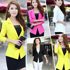 Womens One Button Lapel Casual Slim Suits Blazer Jacket Sleeve Coats +Lace Cuffs