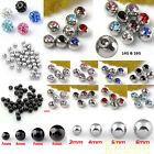 14Ga/16Ga Lots Stainless Steel Crystal Ball Round Beads Navel Nose Body Piercing