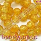 40 - 50 Round Glass Crackle Beads Sparkling Golden Yellow 10mm 6179