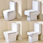 MODERN WC CLOSE COUPLED BATHROOM TOILET CISTERN PAN & SOFT CLOSE SEAT