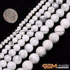 "Natural White Howlite Turquoise Round Beads For Jewelry Making 15"" 6mm 8mm 10mm"