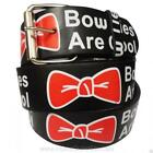 """""""Bow Ties Are Cool"""" Phrase Printed Leather Belt X 11th Hour Dr. Who Tardis Dalek"""