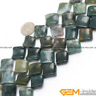"Natural Assorted Stone 15mm Square Twist Beads For Jewelry Making Strand 15"" YB"