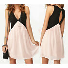 Girl Deep V-neck Hollow Out Chiffon Vest Patchwork Dress Sleeveless Sundress