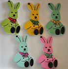 10 / 25 Wooden Sitting Rabbit Button CHOICE OF COLOUR Sewing Scrapbooking