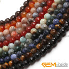 Wholesale Lot Natural Assorted Stones Faceted Round Beads For Jewelry Making 15""