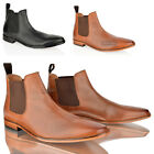 MENS CASUAL FORMAL LEATHER SLIP ON COMFORT WORK OFFICE SMART CHLESEA BOOTS SIZE