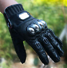 Pro-Biker Leather Motorcycle Motocross Sports Racing Bicycle Metal Armor Gloves