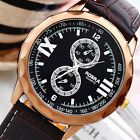 Fashion Men Boy's Big Dial Leather Band Quartz Battery Casual Sport Wrist Watch