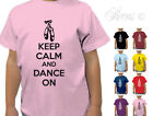 KEEP CALM AND DANCE ON BALLET SHOES DESIGNER GIRLS TSHIRT T-SHIRT KIDS CHILDRENS