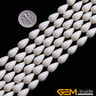 "7x12mm Drop Coral Gemstone Beads For Jewelry Making 15"" White Pink Red Assorted"