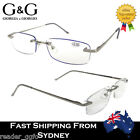 G&G Mens Ladies Rimless Spring Loaded Slim Reading Glass 1.0 1.5 2 2.5 3.0 3.5