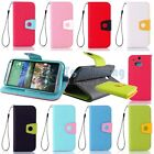 Hybrid Folio PU Leather Wallet w/ Strap Flip Cover Stand Case For HTC ONE M8