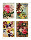 Vintage Seed Packet Collage    Fabric Blocks  14-0207