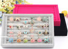 Mini Jewelry Ring Charm Suede Display Organizer Box Tray Holder Case Storage Hot