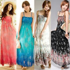 WOMEN LONG Summer CHIFFON MAXI BOHO Party HIPPIE DRESS Sundress 8 10 12 14 16