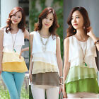 Women Chiffon Shirt Lady Multi-layered Sleeveless Blouse Vest Pullover Tank Tops