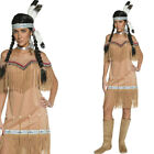Ladies Red Indian Lady Fancy Dress Costume Native Cowboys & Indians Outfit