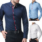 Mens Classy Dress Casual Tops Shirts PJ Cool Button Long Sleeve Sexy Shirt