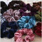 Women Girl's Velvet Feel Flower Hair Scrunchies Elastic Ponytail Holder Rope SFD