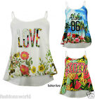Ladies Womens Tropical Flower Print Strappy Camisole Cami Swing Vest Top Dress