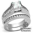 Women's Stainless Steel Princess Cut AAA CZ Wedding Designed Ring Set - TK969
