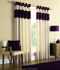 LAURA AMETHYST PURPLE CHENILLE & LINEN EYELET RINGTOP CURTAINS.NEXT DAY DELIVERY