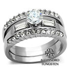 Women's Ring 3pc Set Round Cut Stainless Steel Wide Engagement Wedding - TK973
