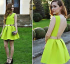 Fashion Womens Sexy Mini Pleated Skater Skirt Party Cocktail Dress Neon Green