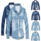 Men's Stylish Casual Slim Fit Denim Shirts Blouse Long Sleeve 2 Colors Newest
