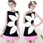 Women's Elegant Sleeveless Contrast Floral Print Slim Party Cocktail Mini Dress