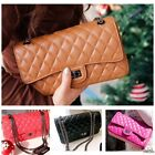 NEW Real Lamb Skin Leather Quilted Nickle Chain Shoulder Cross Body Bag Handbag