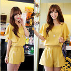Cute Women Jumpsuit Butterfly Sleeves Stretch Waist Brief Playsuit Short Rompers