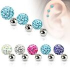 Ferido Crystal Ball Surgical Steel Tragus/ Cartilage Barbell Stud Earring 16G image