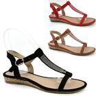 LADIES WEDGE SANDALS WOMENS HEELS FANCY FLAT SUMMER DRESS PARTY BEACH SHOES SIZE