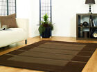SMALL MEDIUM LARGE EXTRA LARGE SOFT BROWN STRIPES DESIGN RUG FREE P&P