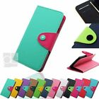 Two Tone Leather Wallet Case Cover w Stand Magnetic Flap Purse Pouch For iPhone