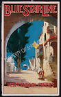 Vintage Blue Star Line Maritime travel print poster, large 4 sizes available