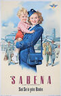 Vintage Sabena Airline travel print poster, large 4 sizes available
