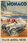 Vintage Monaco f1 racing  Automotive print poster, large 4 sizes available