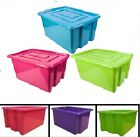 LARGE STACKING STORAGE BOX 32LITRE TOY TIDY ORGANIZER UNIT PLASTIC STACKABLE LID