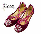 Women Pink Beaded Velvet Ankle Wrap Indian Leather Khussa Shoes Pumps
