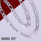"""925Sterling Silver Fashion Jewelry 8MM Flat 3-1 Chain Men Necklace 18""""-24"""" N018"""