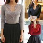 Womens V Neck Hollow Out Floral Lace Patchwork Fitted Top Shirt Blouse Casual